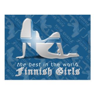Finnish Girl Silhouette Flag Postcard