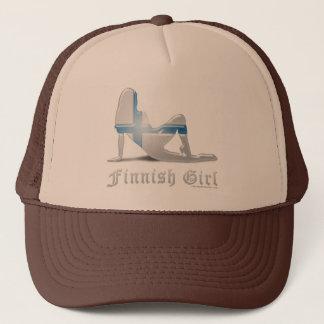 Finnish Girl Silhouette Flag Trucker Hat
