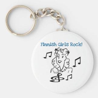 Finnish Girls Rock Basic Round Button Keychain