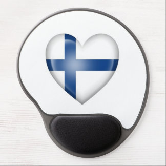 Finnish Heart Flag on White Gel Mouse Pad