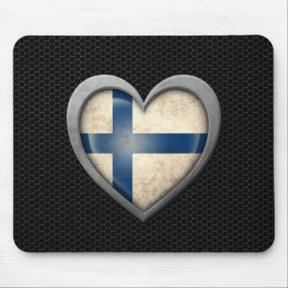 Finnish Heart Flag Steel Mesh Effect Mouse Pad
