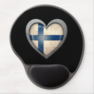 Finnish Heart Flag with Metal Effect Gel Mouse Pad