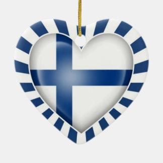 Finnish Heart Flag with Star Burst Christmas Tree Ornament