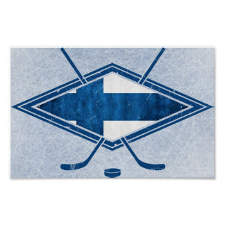Finnish Hockey Flag Logo Suomi Poster