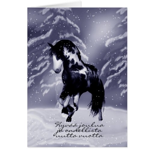 finnish horse christmas card digital painting zazzle