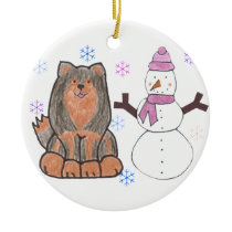 Finnish Lapphund And Snowman Ceramic Ornament