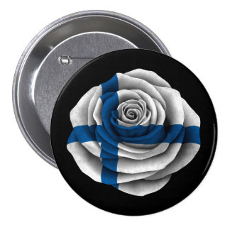 Finnish Rose Flag on Black Button