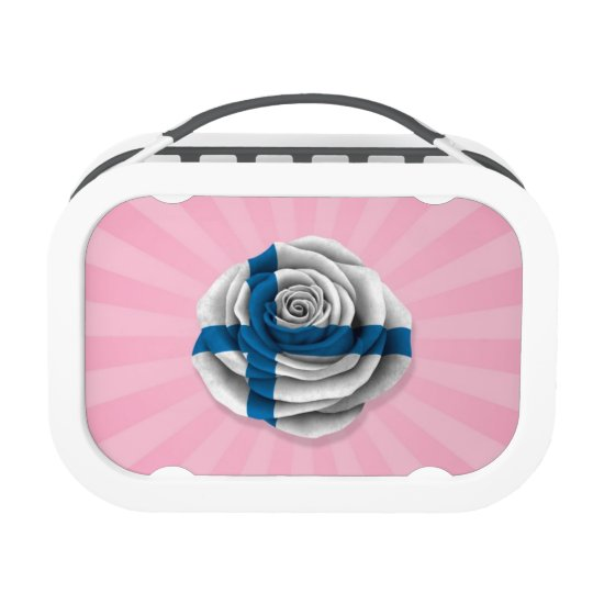 Finnish Rose Flag on Pink Lunch Box