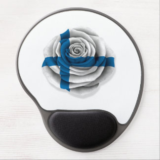 Finnish Rose Flag on White Gel Mouse Pad