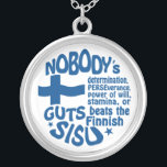 """Finnish SISU necklace<br><div class=""""desc"""">Suomalainen sisu. """"Nobody's determination,  PERSEverance,  power of will,  stamina,  or GUTS beats the Finnish SISU!"""".  See my store for more Finland items.</div>"""