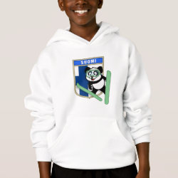 Girls' American Apparel Fine Jersey T-Shirt with Finnish Ski-jumping Panda design