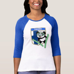 Ladies Raglan Fitted T-Shirt with Finnish Ski-jumping Panda design