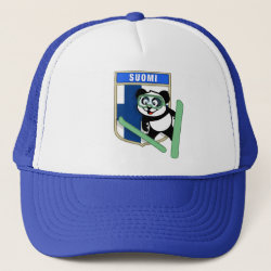 Trucker Hat with Finnish Ski-jumping Panda design