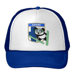 Trucker Hat with Finnish Ski-jumping Panda design