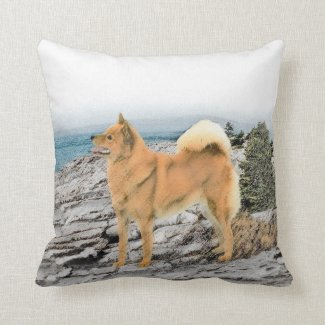 Finnish Spitz at the Seashore Throw Pillow
