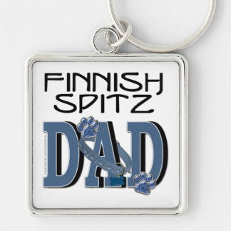 Finnish Spitz DAD Silver-Colored Square Keychain