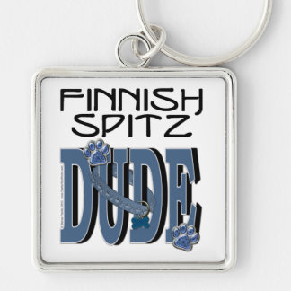 Finnish Spitz DUDE Silver-Colored Square Keychain