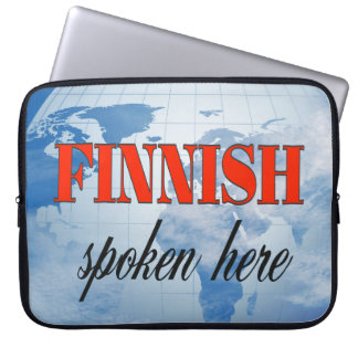Finnish spoken here cloudy earth laptop sleeve