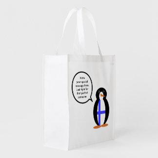 Finnish Talking Penguin Flag Grocery Bag