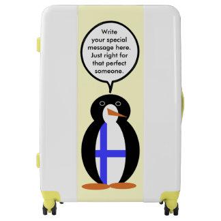 Finnish Talking Penguin Flag Luggage