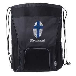 Finnish touch fingerprint flag drawstring backpack