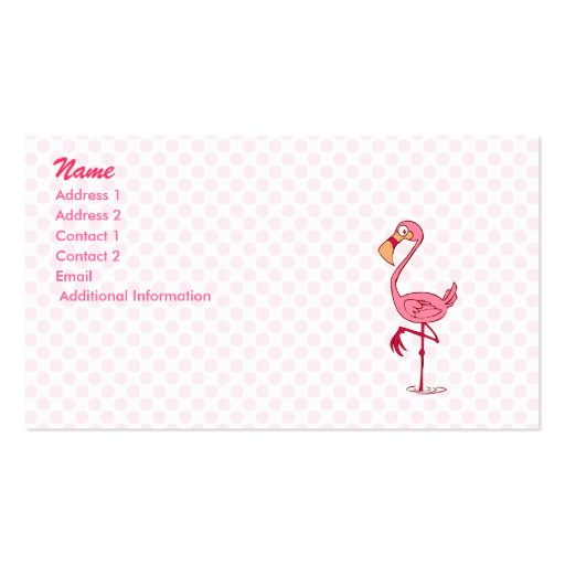 Finny Flamingo Double-Sided Standard Business Cards (Pack Of 100)