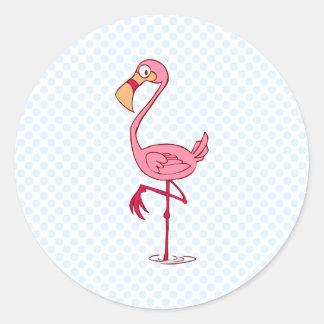 Finny Flamingo Classic Round Sticker