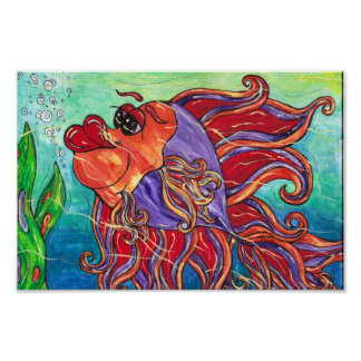 Finny the Fighting Fish Print
