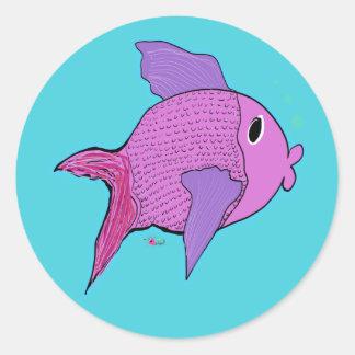 Finny the purple fish classic round sticker