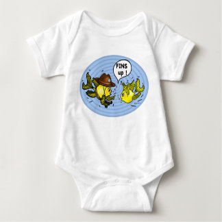 FINS UP! hilarious funny hands up cute cartoon Baby Bodysuit