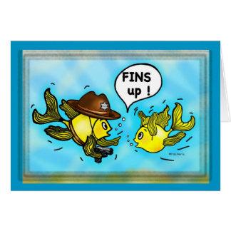 FINS UP! hilarious funny hands up cute cartoon Card