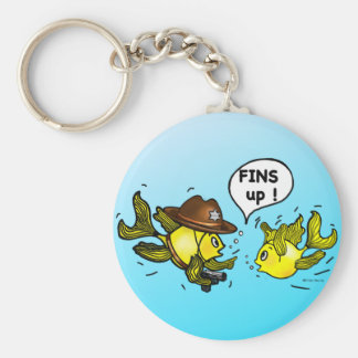 FINS UP! hilarious funny hands up cute cartoon Keychain