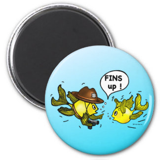 FINS UP! hilarious funny hands up cute cartoon Magnet