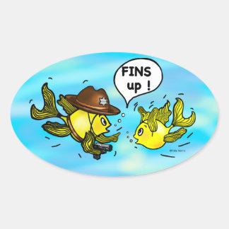 FINS UP! hilarious funny hands up cute cartoon Oval Sticker