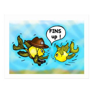 FINS UP! hilarious funny hands up cute cartoon Postcard