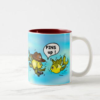 FINS UP! hilarious funny hands up cute cartoon Two-Tone Coffee Mug