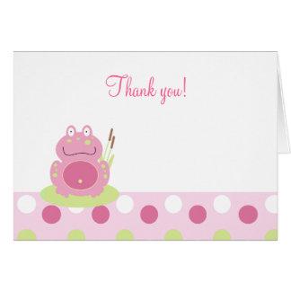 Fiona que la rana rosada doblada le agradece tarjeta pequeña