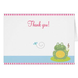 Fiona que la rana verde doblada le agradece tarjeta pequeña