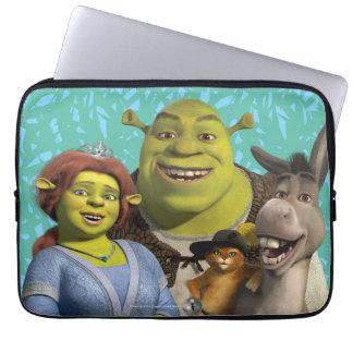 Fiona, Shrek, Puss en botas, y burro Funda Portátil
