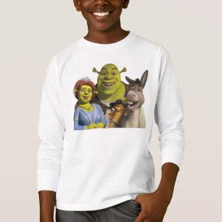 Fiona, Shrek, Puss en botas, y burro Polera