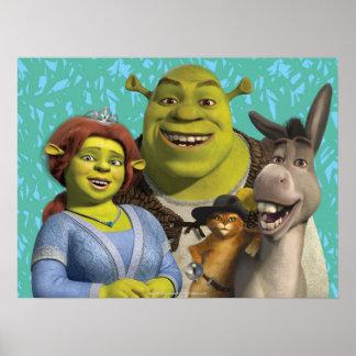 Fiona, Shrek, Puss en botas, y burro Póster