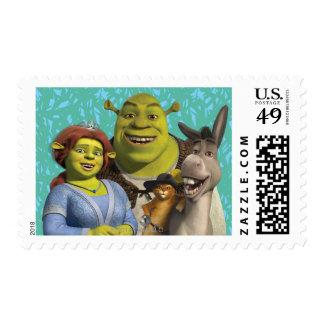Fiona, Shrek, Puss en botas, y burro Timbres Postales