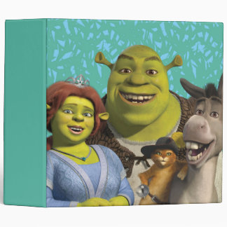 Fiona, Shrek, Puss In Boots, And Donkey 3 Ring Binder