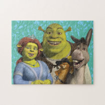 Fiona, Shrek, Puss In Boots, And Donkey Jigsaw Puzzle