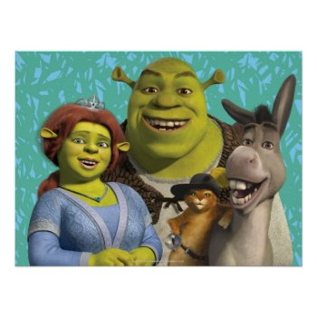 Fiona  Shrek  Puss In Boots  And Donkey Poster by ShrekStore at Zazzle