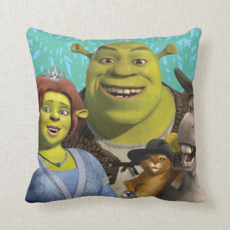 Fiona, Shrek, Puss In Boots, And Donkey Throw Pillow