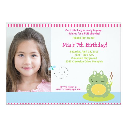 Fiona the Green Pond Frog *PHOTO* Birthday 5x7 Card