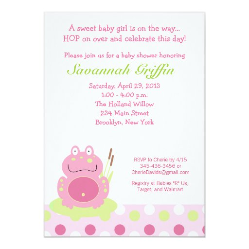 Fiona the Pink Frog Baby Shower 5x7 Invitation