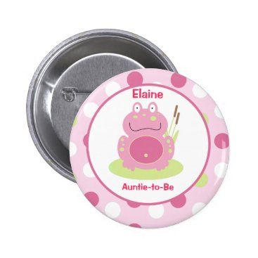 Fiona the pink Frog Customized name tag Button