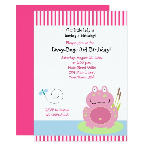 Fiona the Pink Pond Frog Girl Birthday Invitation